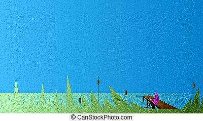 Vector fisher in grain brush style