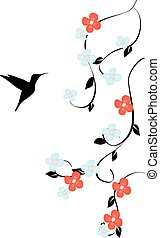 floral humming bird