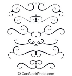 Vector flourish set, scroll collection, curl decoration elements, vintage top and bottom decor