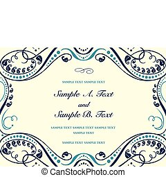 Vector floral frame with sample text. Perfect as invitation or announcement. All pieces are separate. Easy to change colors.