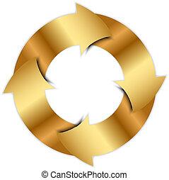Vector gold arrows circle