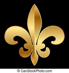 Vector gold Fleur-de-lis ornament on black