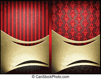 vector gold on red background