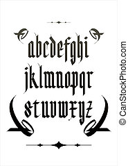 Vector gothic alphabet font