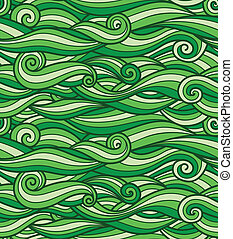 Vector grass green waves pattern, seamless texture ready for use
