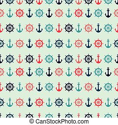 Vector green nautical elements seamless pattern background