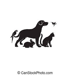 Vector group of pets - Dog, Cat, Humming bird, Parrot, Rabbit isolated on white background. Pet Icon or logo, Easy editable layered vector illustration.
