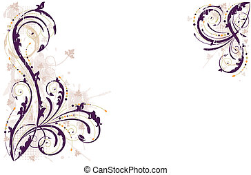 Grunge floral background in shades of purple. Editable vector illustration saved as EPS AI 8, all elements layered and grouped.