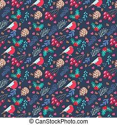 elegant pattern with christmas elements on Dark blue background.