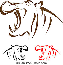 Vector head of hippopotamus on a white background
