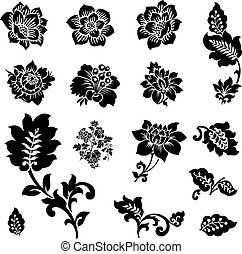 Set of vector ornate floral icons. Perfect for any ornate design.