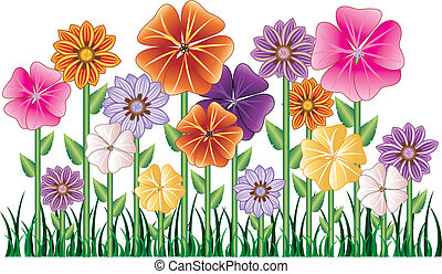 Vector illstration of a Flower Garden with grass. Easy to move elements.