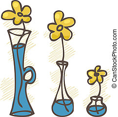 Vector illustration. Flowers in different vases. set