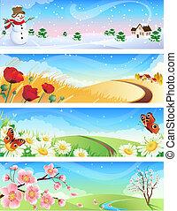 Vector illustration - four seasons landscapes