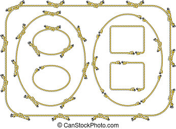 vector illustration of a collection of several rope frames