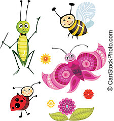 vector illustration of a insect set