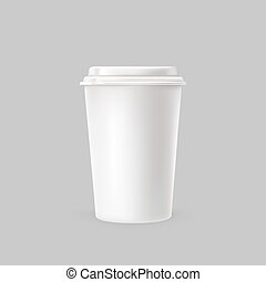 Vector illustration of a white plastic cup for cold and hot drinks.