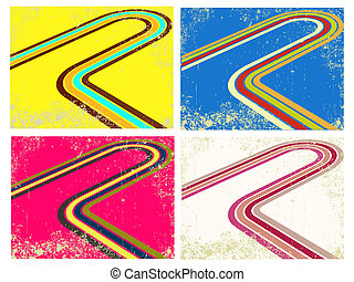 Vector illustration of abstract vintage colourful background