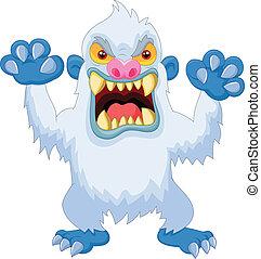 Angry cartoon yeti