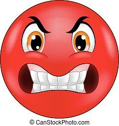 Vector illustration of Angry smiley emoticon cartoon