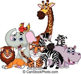 animal cartoon posing