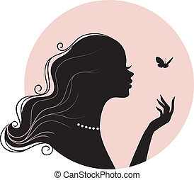 Vector illustration of Beauty woman with butterfly