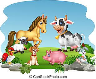 Cartoon farm animals with nature background