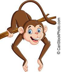 Cartoon funny monkey on a tree branch