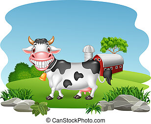 Cartoon happy cow with farm background