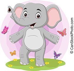 Cartoon happy elephant with butterflies in the grass