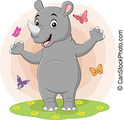 Cartoon happy rhino with butterflies in the grass