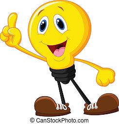 Vector illustration of Cartoon light bulb pointing his finger