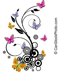 vector illustration of colorful butterflies on floral elements