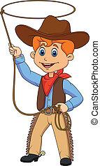 Cowboy kid cartoon twirling a lasso