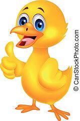 Cute baby chicken cartoon with thum