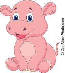 Vector illustration of Cute baby hippo cartoon