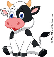 Vector illustration of Cute cow cartoon sitting
