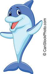 Vector illustration of Cute dolphin cartoon waving
