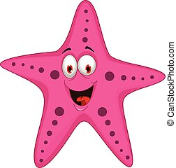 vector illustration of funny cartoon starfish