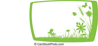 green grass on frame