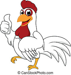 Vector Illustration Of Happy White Chicken With OK