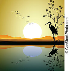 vector illustration of heron silhouette on lake