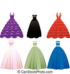 Vector Illustration of iFormal Gown Dress Icons. May also be used for Fashion, Banquets, Sweet Sixteen, Quinceanera, Wedding or Prom.