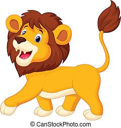 Vector illustration of Lion cartoon walking