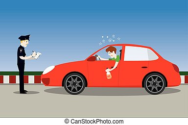 vector illustration of policeman officer arrest drunk young man driver with a bottle of alcohol in car. don't drink and drive concept