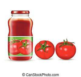 Vector illustration of red tomatoes and jars with tomato juice, ketchup, sauce.