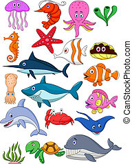 Vector illustration of Sea life cartoon set