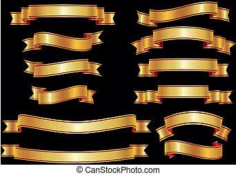 Set of golden vector ribbons or ban