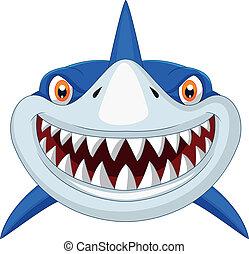 Vector illustration of Shark head cartoon