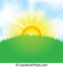 sun, sky and grass